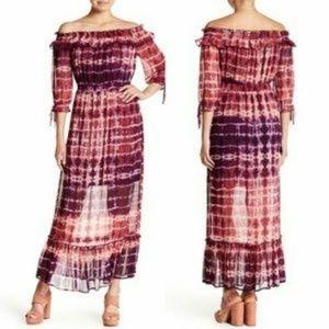 NWT Dahlia Off Shoulder Tie Dye Ruffle Maxi Dress